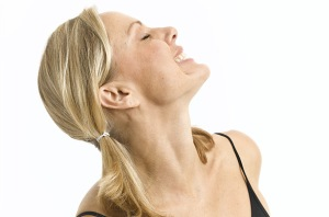 Swallow while pressing the tip of the tongue to the roof of your mouth. Then tilt your head slightly to the left and swallow. Then repeat, towards the right. This exercise helps jowls from forming.